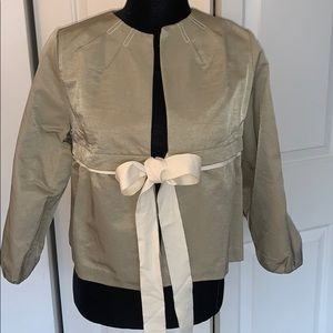 Khaki colored short jacket with tie front